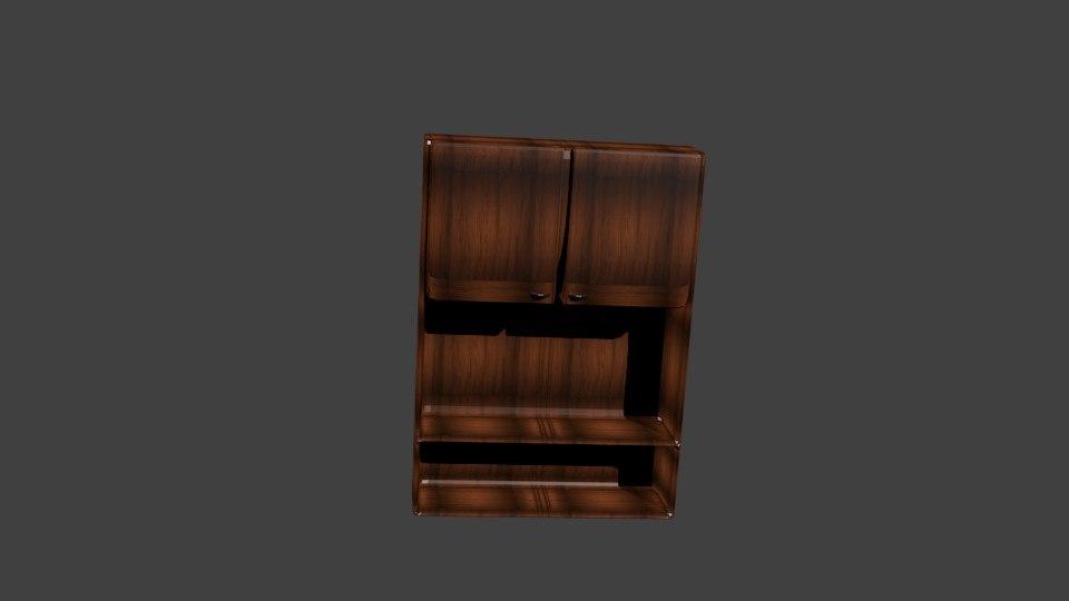 3d model classic wooden cupboard