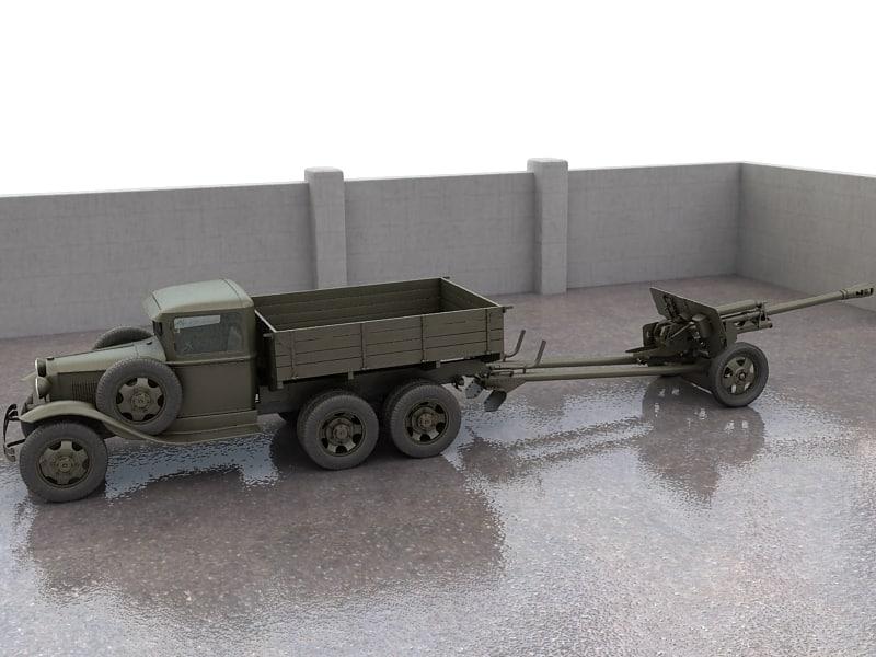 3d model gaz-aaa truck guns zis-3