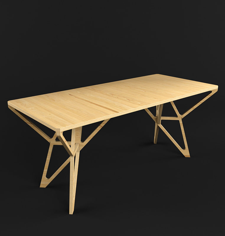 3d wooden table