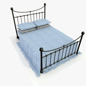 3d metal bed blue