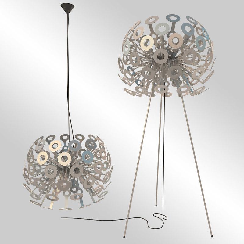 moooi dandelion lamp materials 3d model