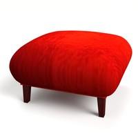 3d model of pouf red velvet