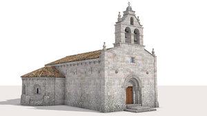 romanesque church 3d obj