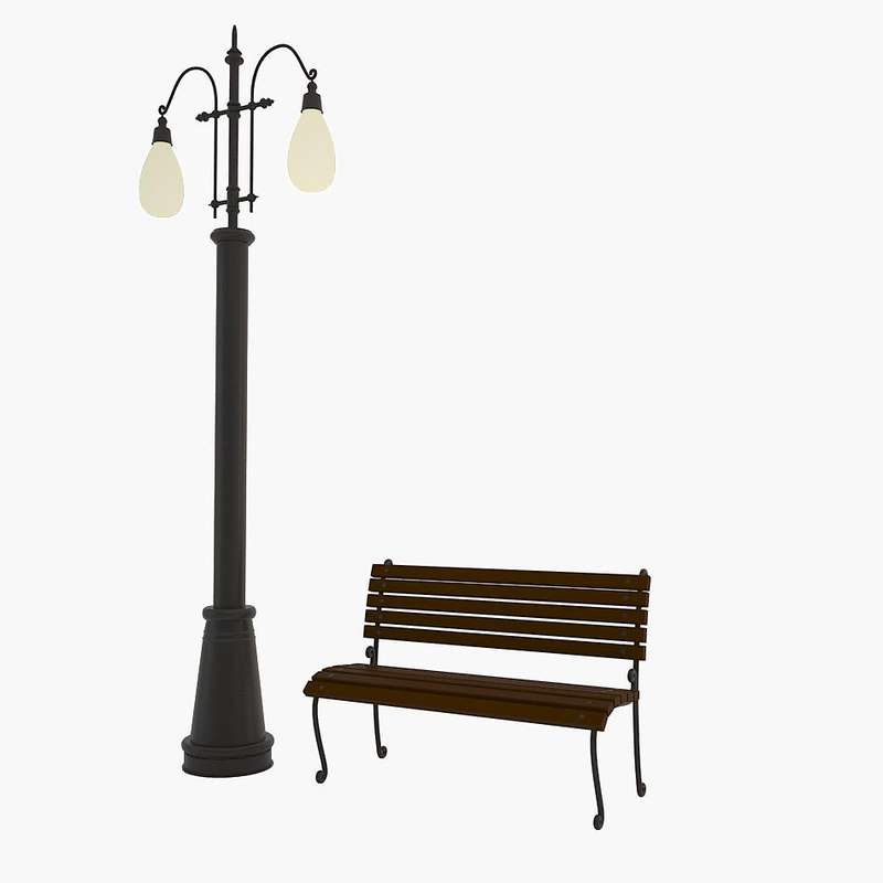 max cartoon street lamp bench