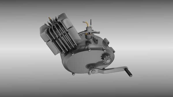 stroke moped engine piston obj