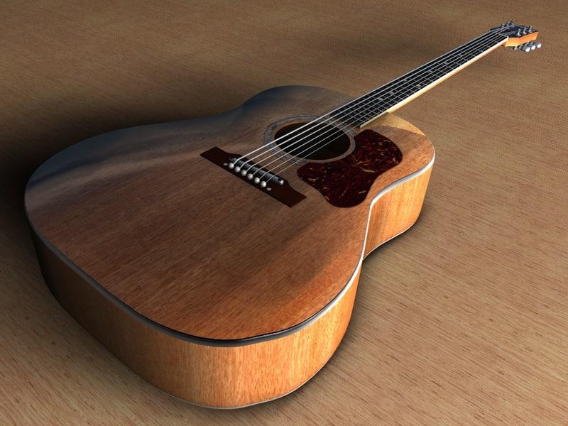 acoustic guitar washburn d10 3d model