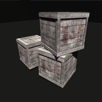 3d old wooden box ready model