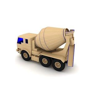3d wooden toy truck model