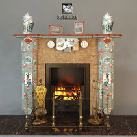 3d model of fireplace china style