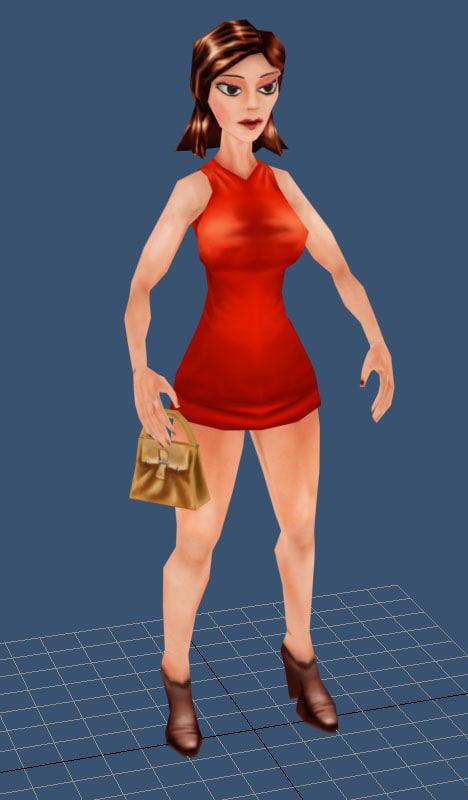 girl red 3d model