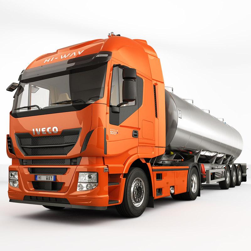iveco stralis hi-way tanker truck 3d model