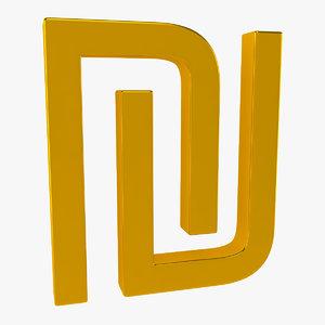 3d model monetary symbol