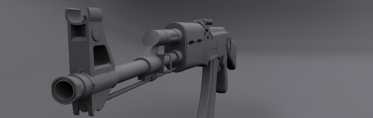 ak-47 weapon 3d 3ds