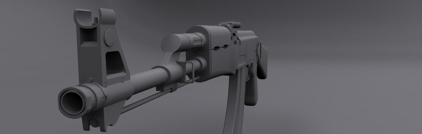 ak-47 weapon 3d 3ds