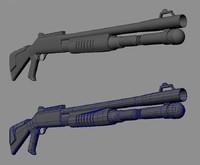 Game Shotgun Low Poly Model