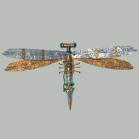 simple steampunk dragonfly 3d max