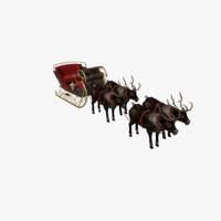 3d christmas sleigh