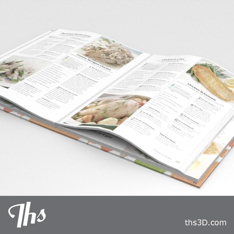 3d model cookery-book open