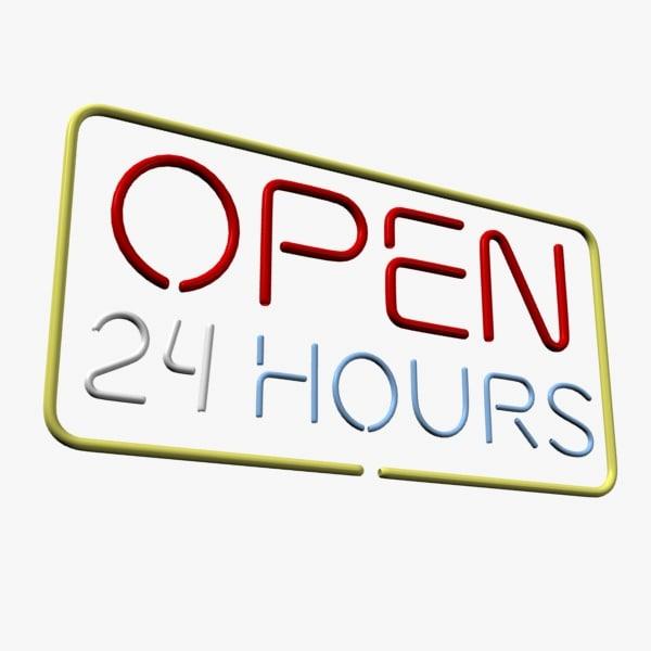 open hours neon 3d model