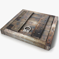 Wood Medieval Floor Trap Door