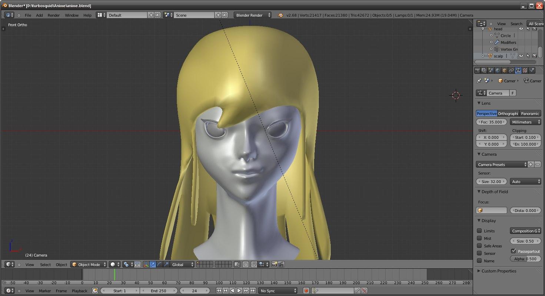 girl head 3d blend