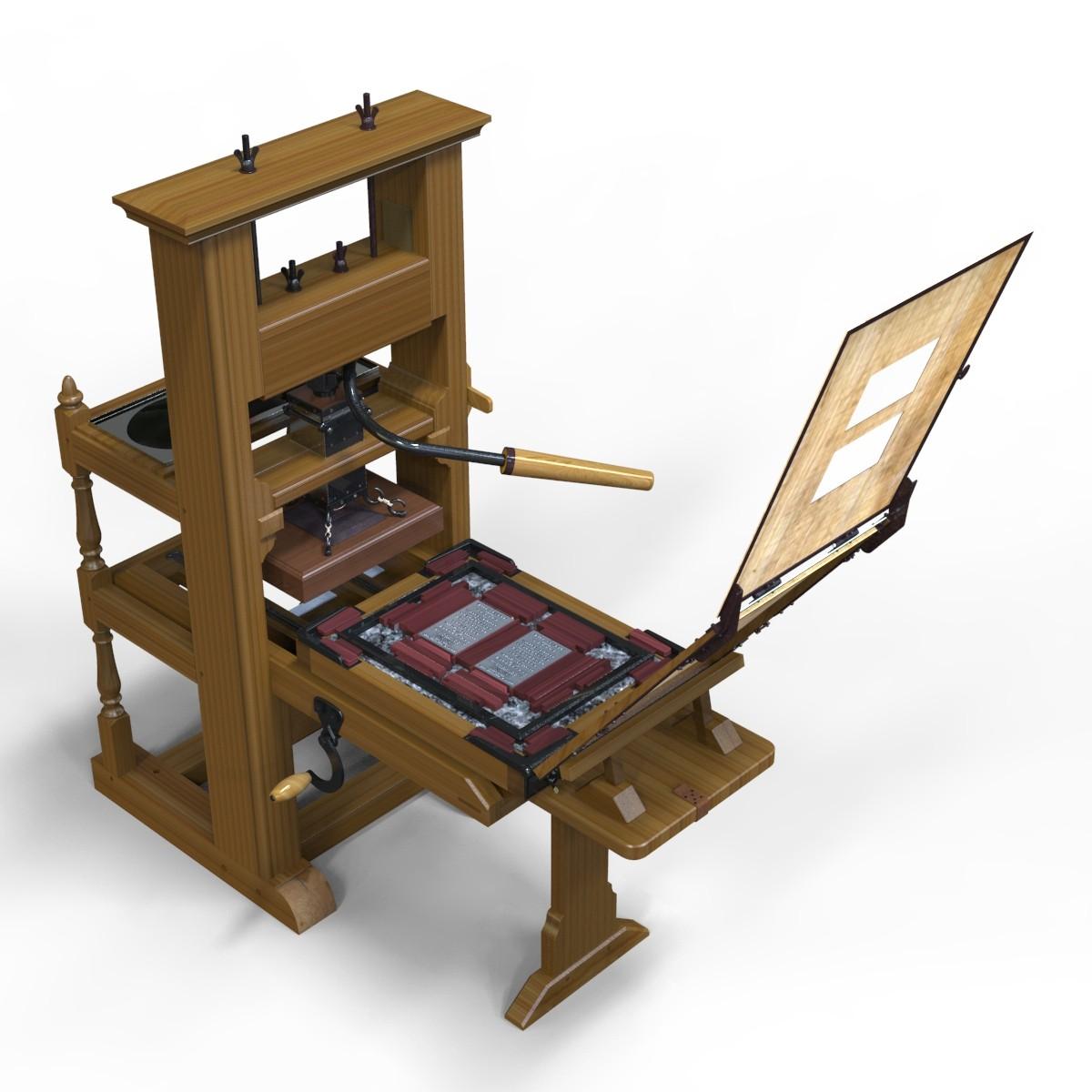 Franklin Printing Press Jamin 3d Model