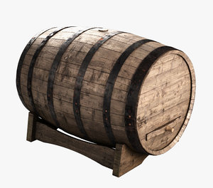 3d model wooden wine barrel