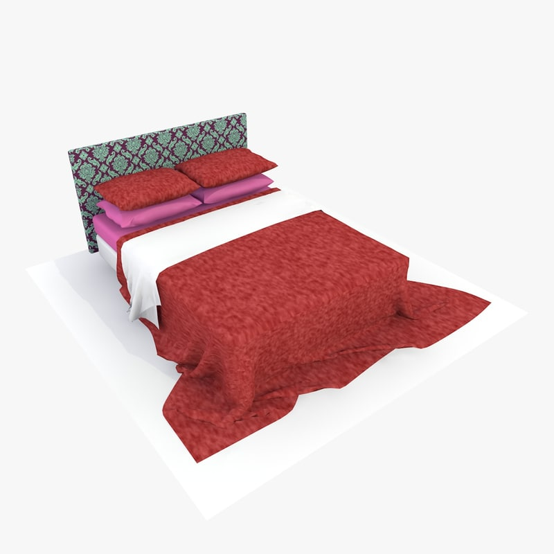 3d model bed red