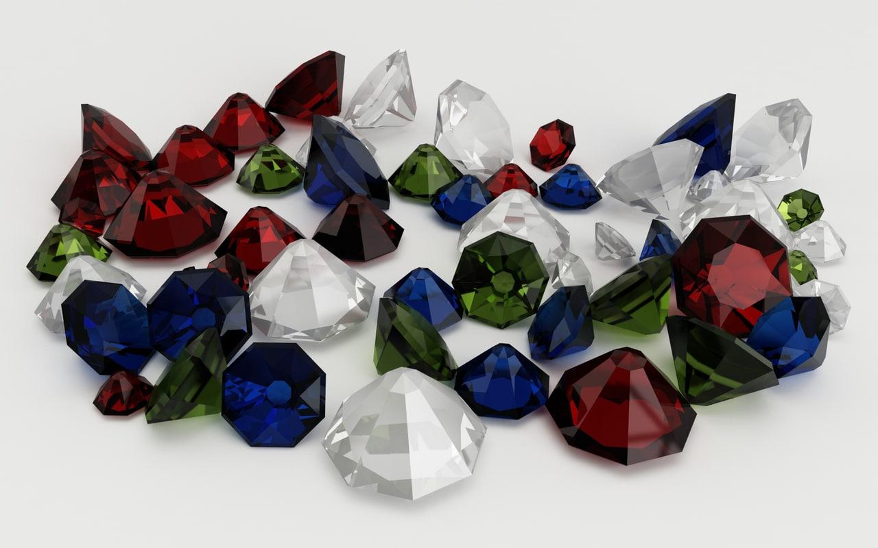 3d model diamonds