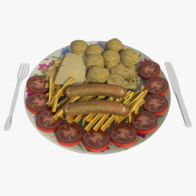 food dish chips sausages 3ds