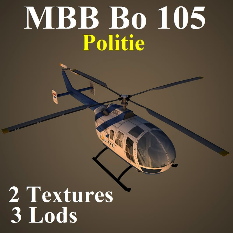 3d mbb 105 pol helicopter