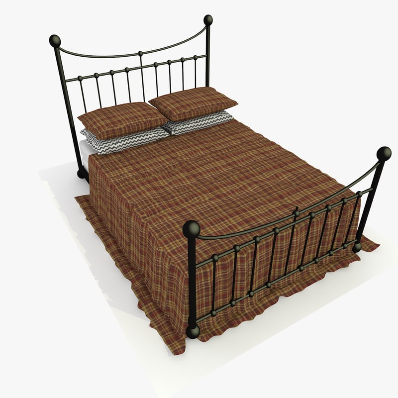 metal bed red fabric 3d 3ds