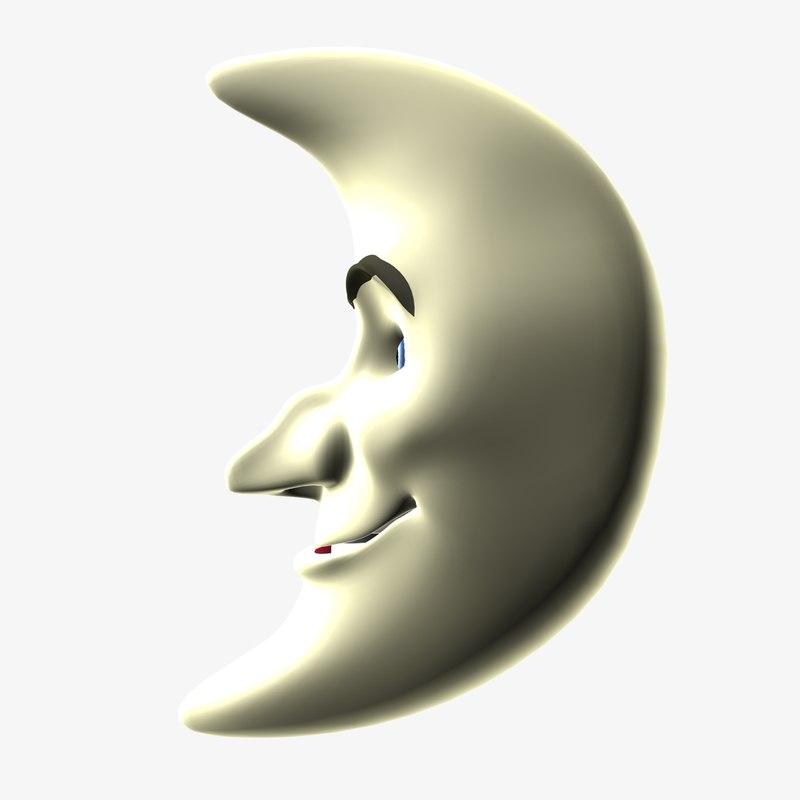 cartoon moon 3d dxf