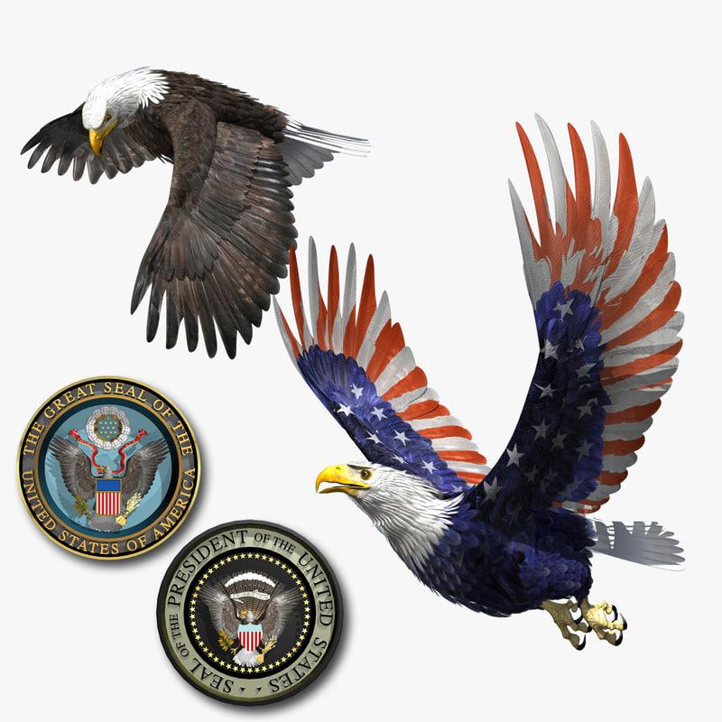 bald eagle patriot set… 3d model