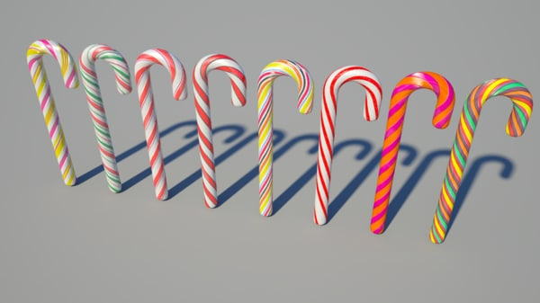 8 candy canes 3d 3ds