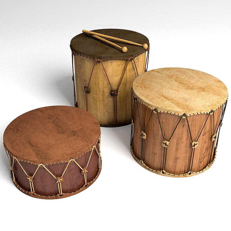 3d model of drums set