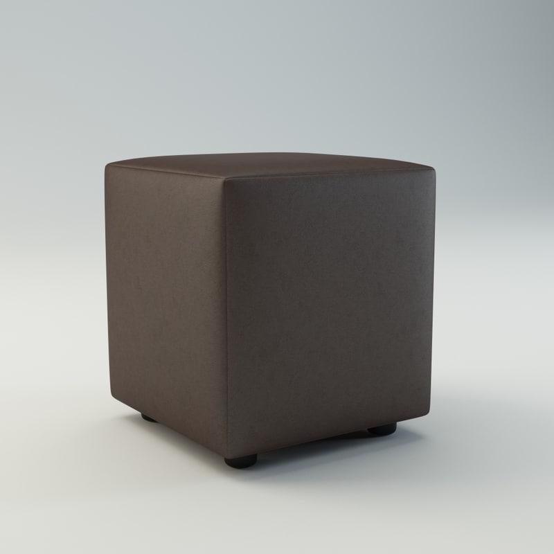 3d model leather pouf