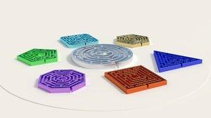 3d model mazes labyrinths