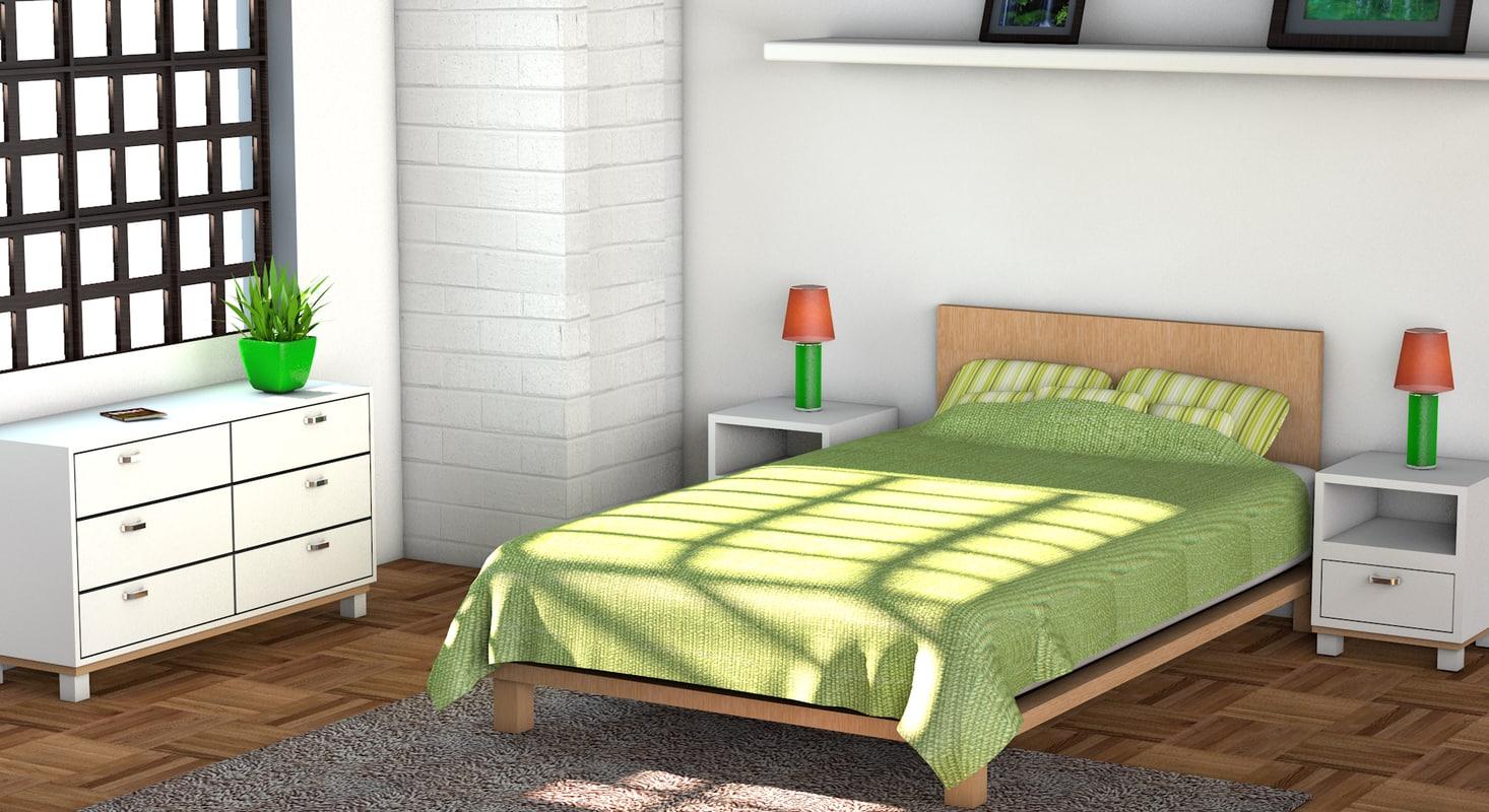 3d model of bedroom bed scene