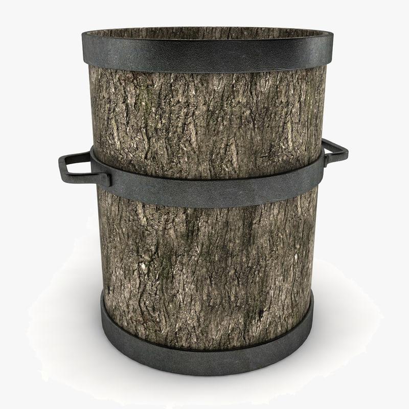 3d wooden pot decoration model