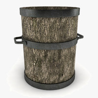 3d wooden pot decoration model