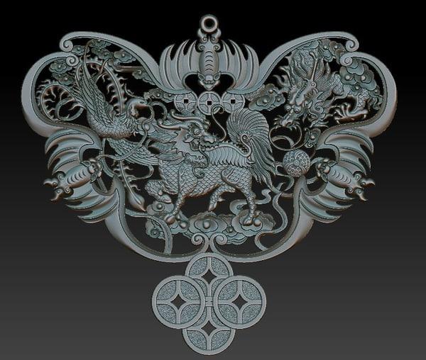 maya dragon phoenix kirin relief
