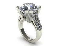 Double Pave Prong Diamond Ring