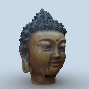 indian budha head 3d model