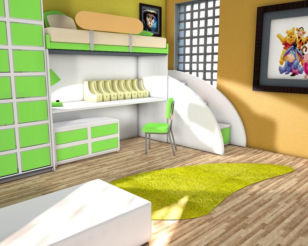 bedroom kid 3d x
