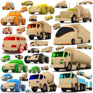 3d wooden toy cars trucks