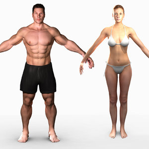 unrigged male female combo 3d ma