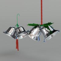 3d model 2 christmas bells
