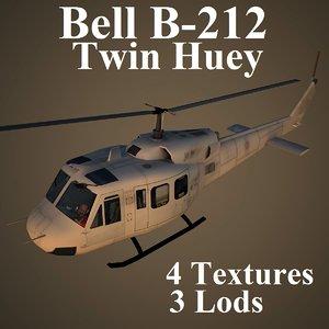 bell b-212 twin 3d model