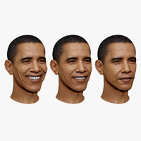 Barack Obama Blend Shape Serious to Smiling Face High and Low Polygon 3D Head Portrait